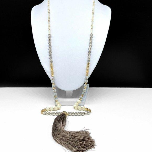 Ann Taylor Loft Faux Pearl Beaded Tassel Necklace
